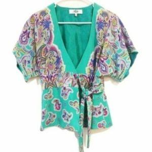 Tibi Silk Floral Paisley Printed Kimono Wrap Top